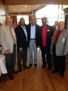 Area mayors gathered together to support the builidng of the I-10 bridge over Mobile River.